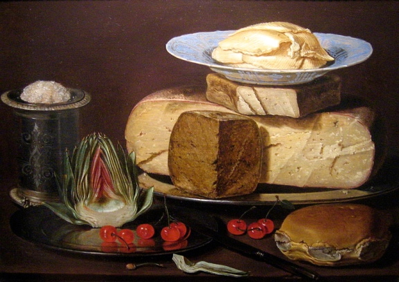 Clara Peeters-Still life with cheeses, artichoke, and cherries c1625