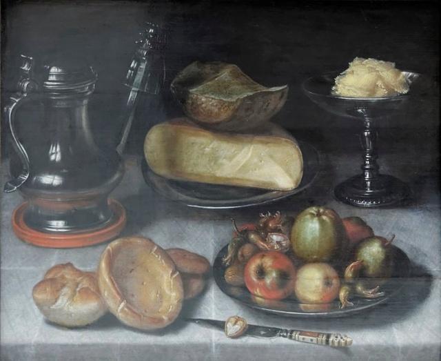 Floris van Dijck, Still life with pewter jug, fruit and cheese